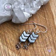 Hematite Arrow Earrings With Lucky Silver Clover